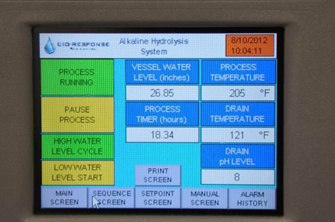 PET-400 Alkaline Hydrolysis System touch screen